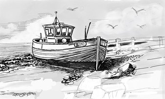 Sketch of boat on beach - lyn may